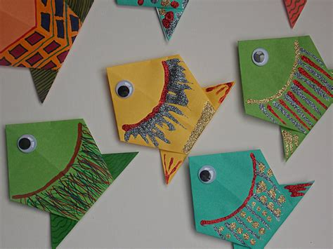 Easy Paper Folding Crafts - origami fish easycraftsforchildren