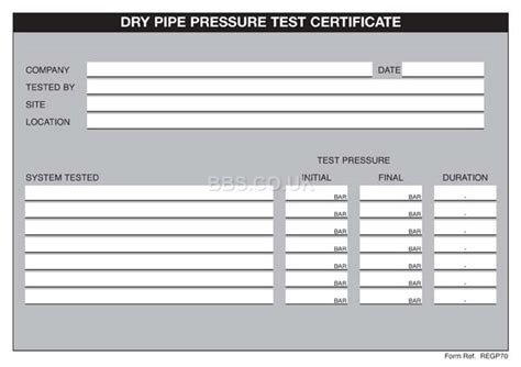 pressure test certificate template pipe pressure test certificates