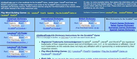 scrabble word finder a2z a2z wordfinder