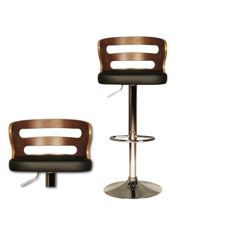 ellie bar stool with a black faux leather seat pad