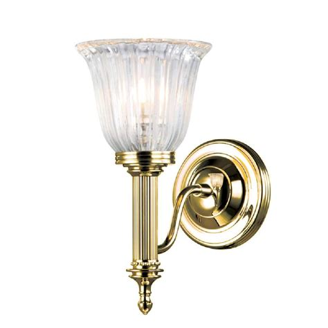 Gold Bathroom Lighting Or Edwardian Gold Polished Brass Wall Light With Glass Shade