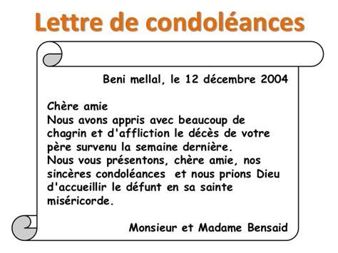Lettre De Condoléance Entreprise Activit 233 De Lecture La Correspondance 3 232 Me 233 E