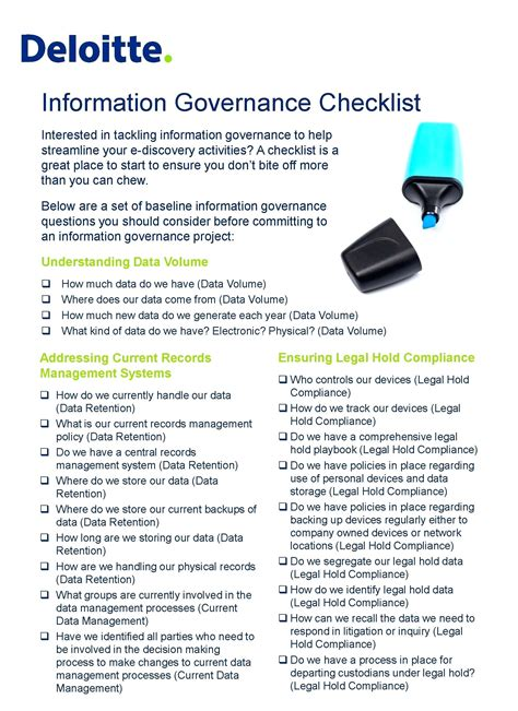 Information Technology Audit Checklist Template Information Governance Policy Template