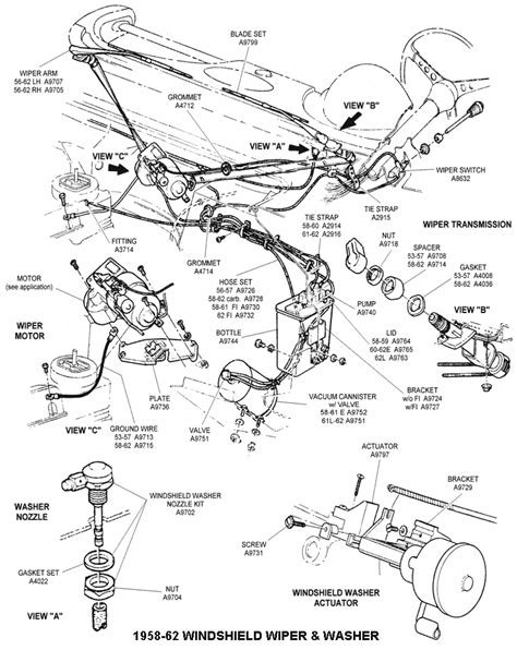 windshield wiper parts diagram wiring diagram and fuse box diagram 1958 62 windshield wiper and washer diagram view chicago corvette supply