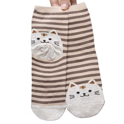 cute patterned socks newly design cute cartoon cat socks striped pattern women