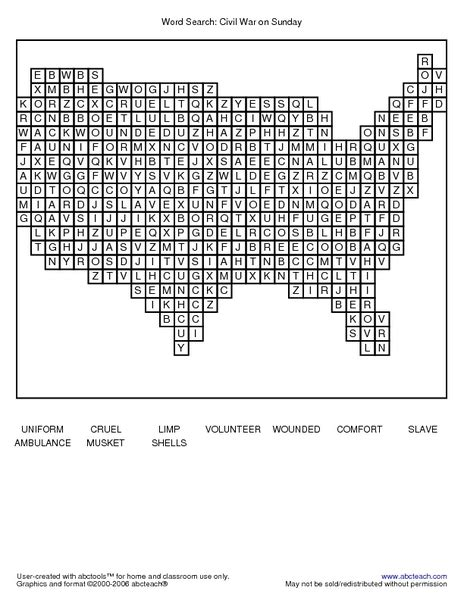printable word search civil war civil war word search worksheets worksheets for all
