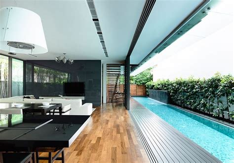 interior design exquisite outdoor pool house connecting to 8 airy homes with giant glass walls that open to courtyards