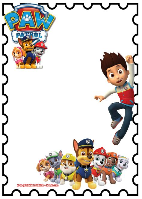 paw patrol birthday card template free paw patrol templates images template design ideas