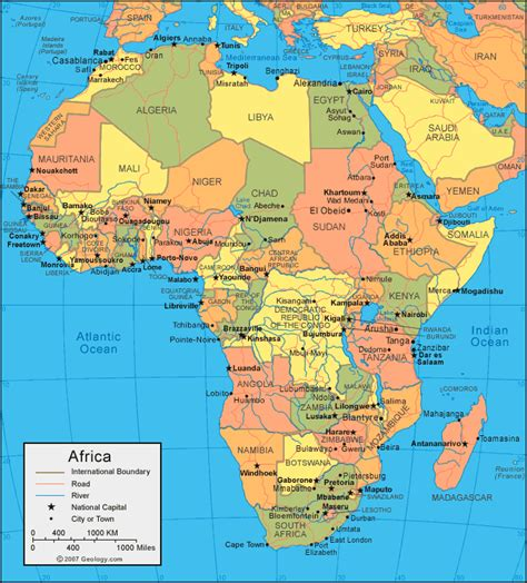 countries of africa map map of africa