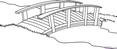 printable bridge instructions japanese garden coloring page how to draw a bridge step