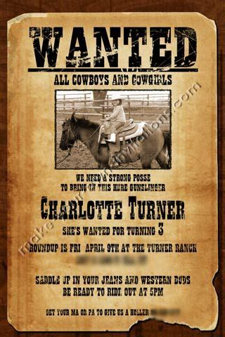 Free Printable Wanted Poster Invitations Invitations 187 Kids Birthday Invitations 187 Western Wanted Birthday Invitation Template