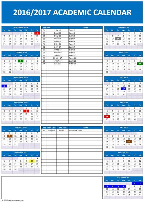 School Academic Calendar 2016 2017 School Calendars Excel Calendars