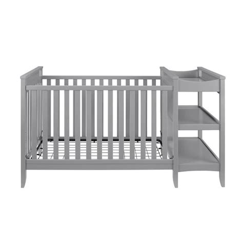 Crib Changing Table Combo 2 In 1 Convertible Crib And Changing Table Combo Set In Gray Da6790