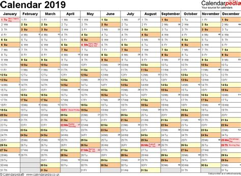 Excel Calendar 2019 Uk 16 Printable Templates Xlsx Free 2019 Planner Template
