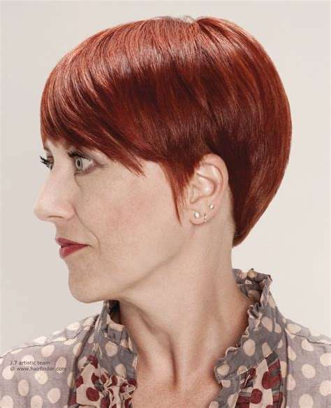 red color and a rounded hairstyle for older women