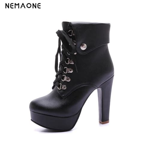 high heel fashion boots nemaone 2016 chunky high heel ankle boots platform