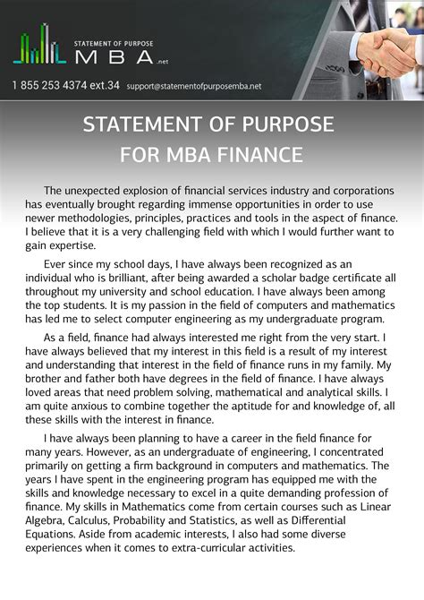Ou Mba Self Finance by Writing Statement Of Purpose For Mba Finance Statement
