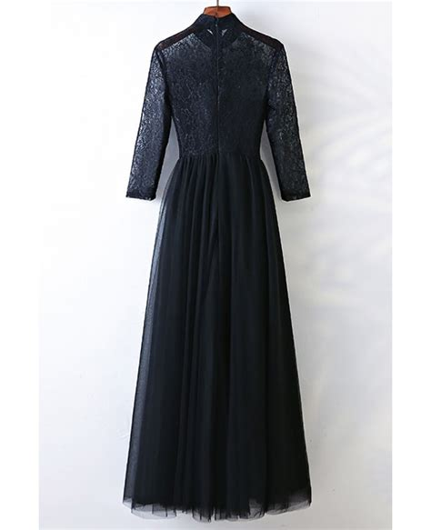 Sleeve High Neck Dress vintage high neck black prom dress with sleeves