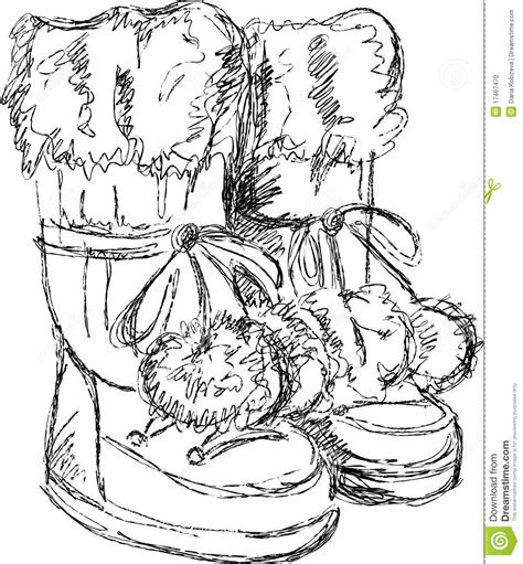 Handmade Sketches - handmade sketch of snow boots stock photo image 17467470