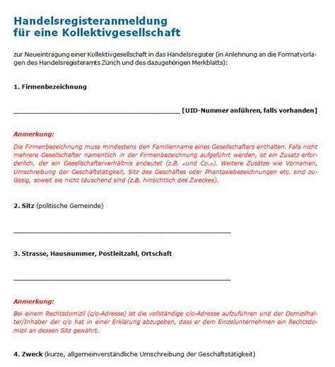 Muster Vollmacht Schweiz Handelsregisteranmeldung Kollektivgesellschaft