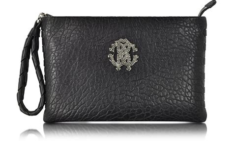Roberto Cavallis Plain Patent Leather Clutch by Roberto Cavalli Black Leather Clutch At Forzieri