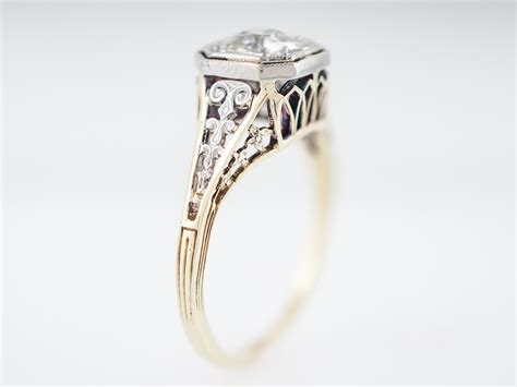 antique engagement ring deco 80 mine cut in 14k