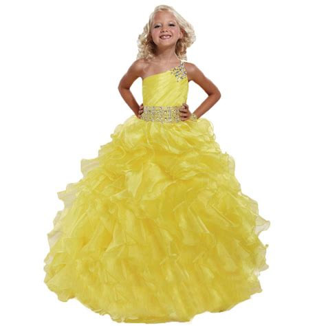 Yellow Shoulder Kid Ij yellow gown cheap flower dresses one shoulder backless custom organza