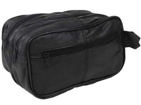 mens wash toiletry bag leather large black wrist ebay
