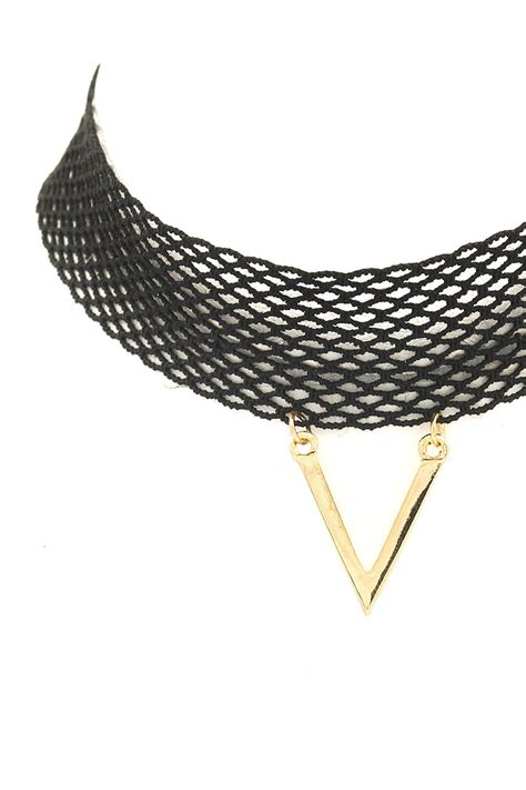 Metal Triangle Necklace mesh metal triangle choker necklace choker necklaces