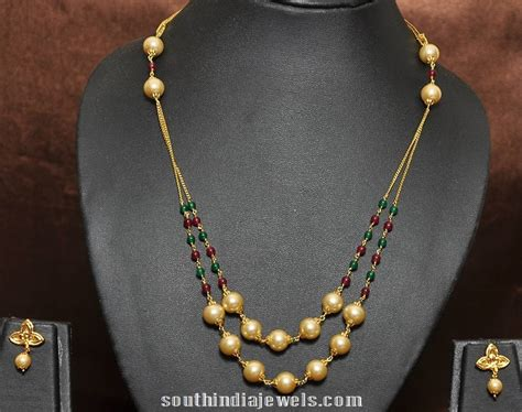 Chain Of Pearl 1 2 1 gram gold plated pearl chain south india jewels