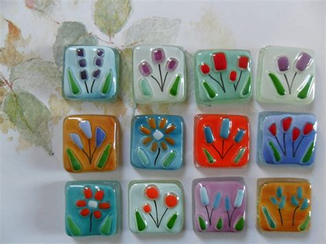 fused glass tiles flowers floral handmade for by sominiature