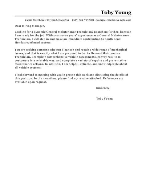 maintenance technician cover letter general maintenance technician cover letter exles
