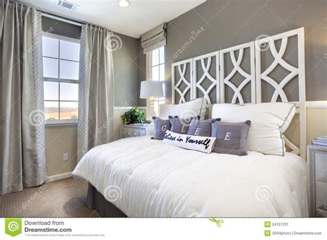 model home bedroom taupe white stock image image