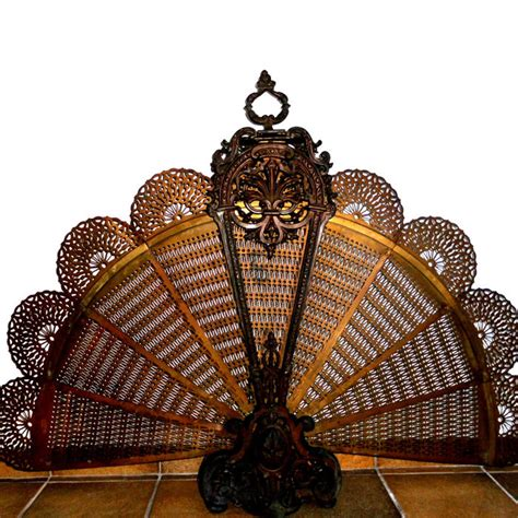 fan shaped fireplace screen antique brass bronze detailed fan shaped fireplace screen