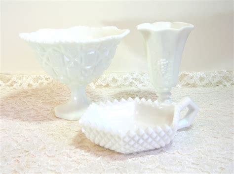 Footed Bowl Vase by Westmoreland Milk Glass Footed Bowl Vase And Candle Holder