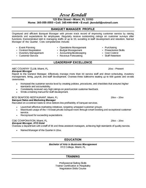 Banquet Sales Manager Sle Resume by Catering General Manager Resume