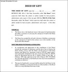 Gift Deed Letter Deed Of Gift Form Sle Sle Templates