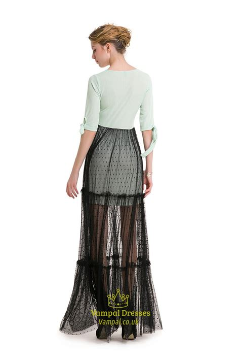 Lace Sleeve V Neck Sheath Dress simple half sleeve v neck sheath dress with black