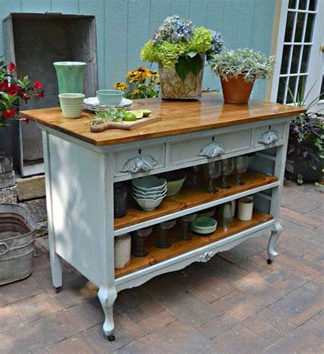 dresser converted to kitchen island painting