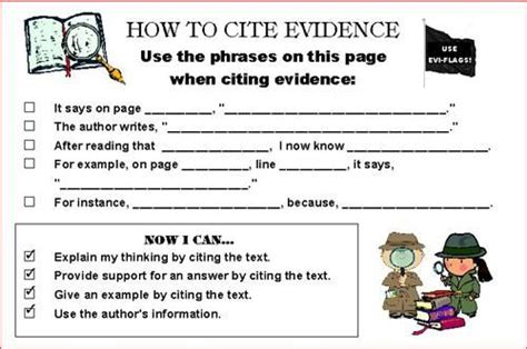 Citing Evidence Worksheet by Citing Evidence Graphic Organizer Citeevi Ela R 1 Cite