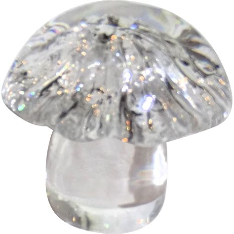 fine crystal daum france signed fine crystal mushroom paperweight from
