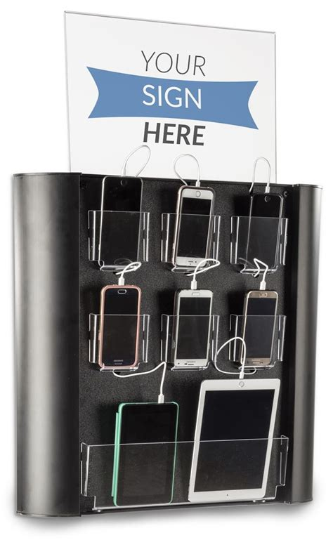 public wall mounted charging station  device pockets