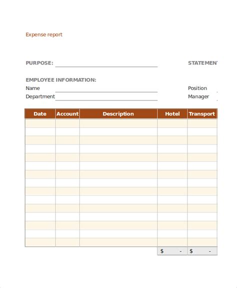 simple study template expense report 11 free word excel pdf documents