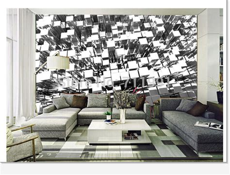 free shipping wallpaper wallpaper bedroom wall furniture free shipping custom 3d silver blocks abstract wall mural
