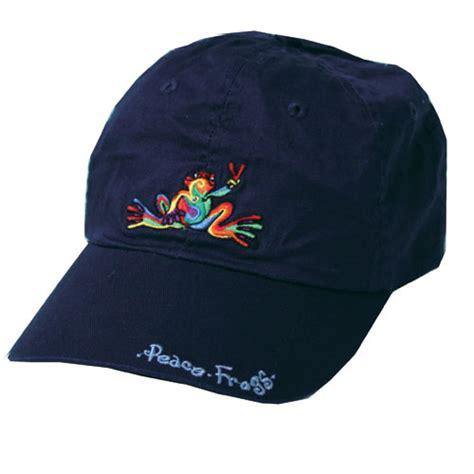 peace frogs retro frog w words baseball hat hats