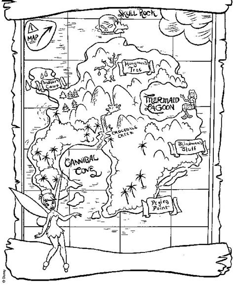 neverland map coloring page summer coloring pages