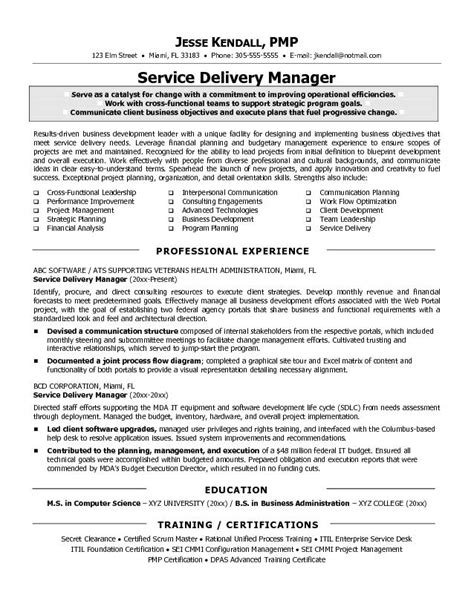 Service Manager Resume Exles by Exle Service Delivery Manager Resume Sle