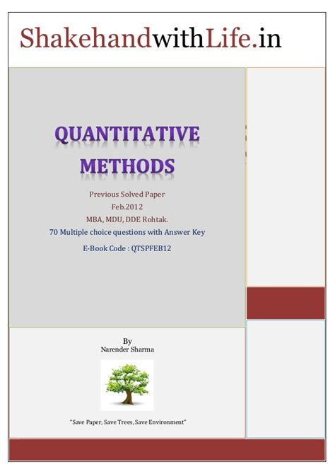 Mba Quantitative Methods Questions And Answers by Quantitative Methods Previous Solved Paper Feb 2012