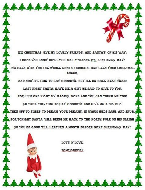 printable christmas eve letter elf on the shelf goodbye poem elf on the shelf