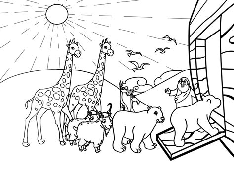 coloring page of noah s ark with animals animal coloring pages clipart 74